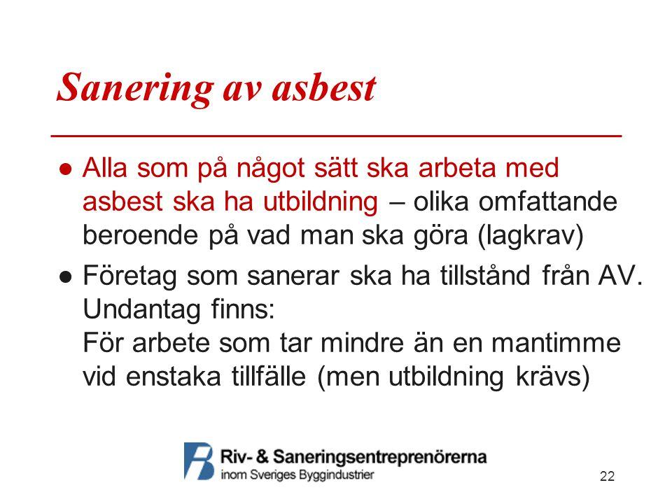 Sanering av asbest ●Alla som på något sätt ska arbeta med asbest ska ha utbildning – olika omfattande beroende på vad man ska göra (lagkrav) ●Företag