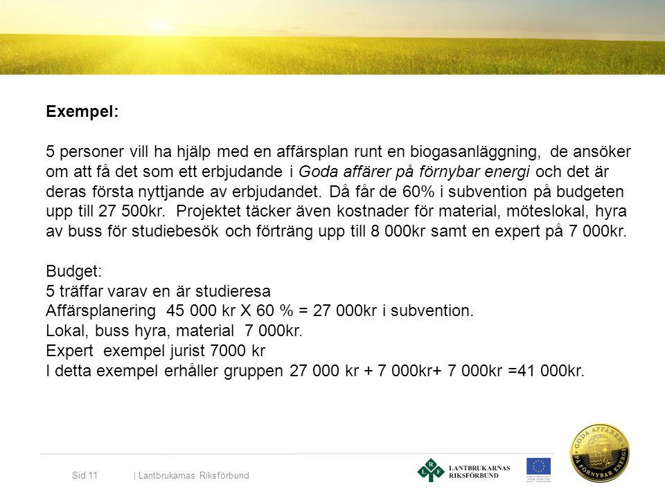   Lantbrukarnas Riksförbund Sid 11 Exempel: 5 personer vill ha hjälp med en affärsplan runt en biogasanläggning, de ansöker om att få det som ett erbj