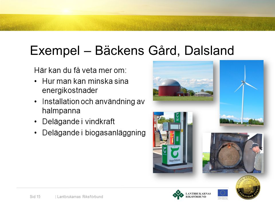 Exempel – Bäckens Gård, Dalsland Här kan du få veta mer om: •Hur man kan minska sina energikostnader •Installation och användning av halmpanna •Deläga