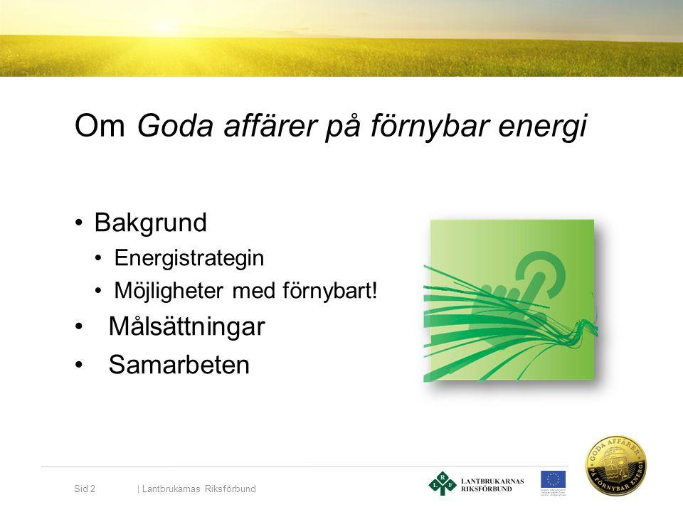 Om Goda affärer på förnybar energi •Bakgrund •Energistrategin •Möjligheter med förnybart! •Målsättningar •Samarbeten   Lantbrukarnas Riksförbund Sid 2