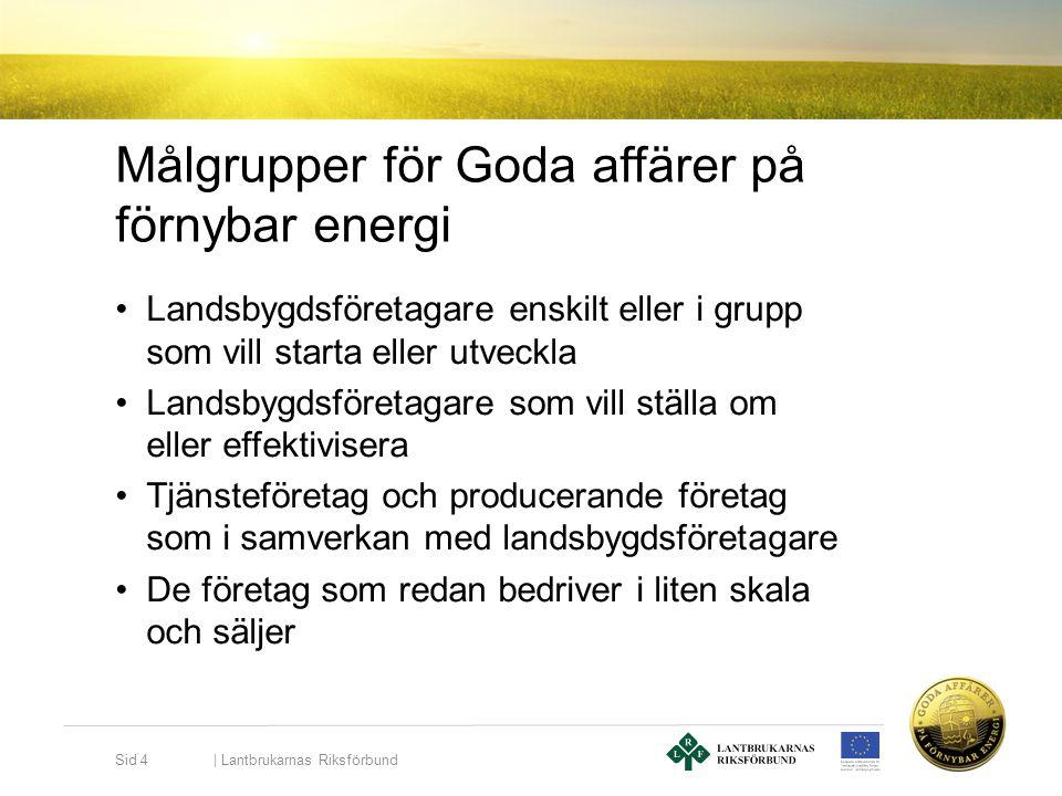 Målgrupper för Goda affärer på förnybar energi •Landsbygdsföretagare enskilt eller i grupp som vill starta eller utveckla •Landsbygdsföretagare som vi