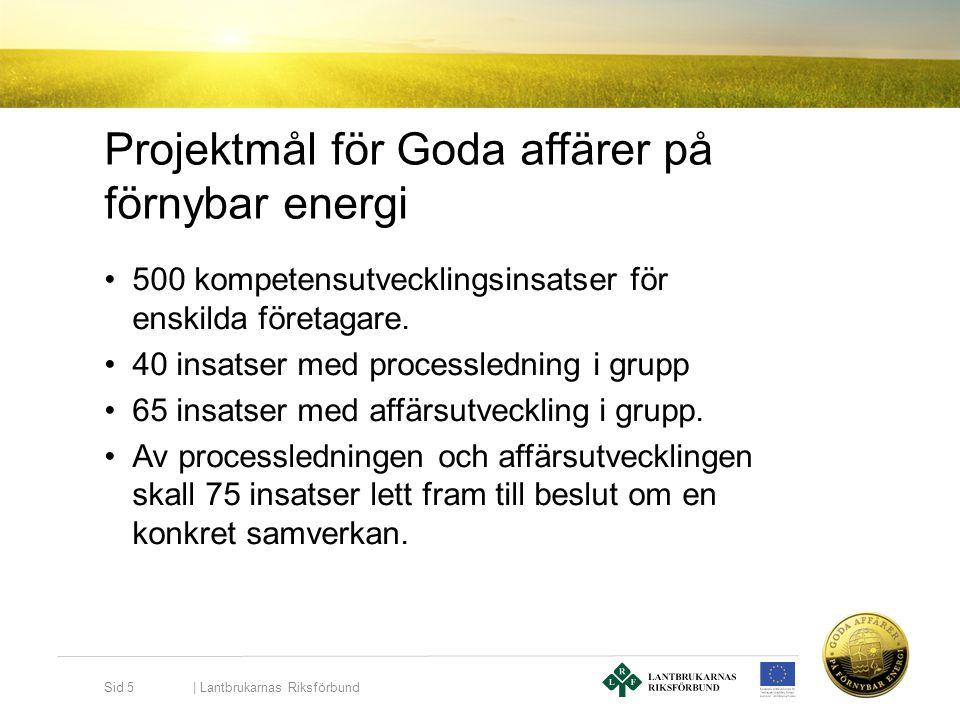 Projektmål för Goda affärer på förnybar energi •500 kompetensutvecklingsinsatser för enskilda företagare. •40 insatser med processledning i grupp •65
