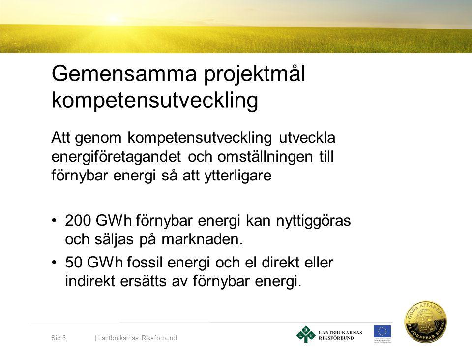 Gemensamma projektmål kompetensutveckling Att genom kompetensutveckling utveckla energiföretagandet och omställningen till förnybar energi så att ytte