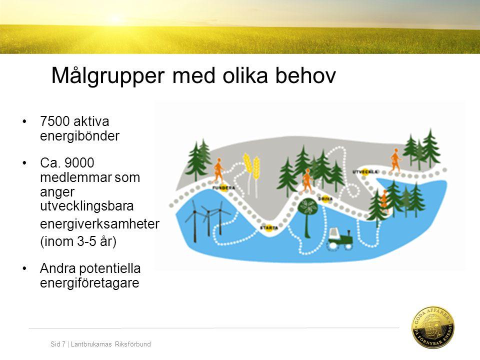 Sid 7   Lantbrukarnas Riksförbund •7500 aktiva energibönder •Ca. 9000 medlemmar som anger utvecklingsbara energiverksamheter (inom 3-5 år) •Andra pote