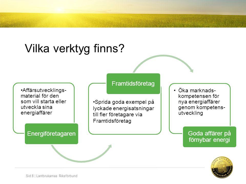 Sid 8   Lantbrukarnas Riksförbund Vilka verktyg finns? Affärsutvecklings- material för den som vill starta eller utveckla sina energiaffärer Energiför