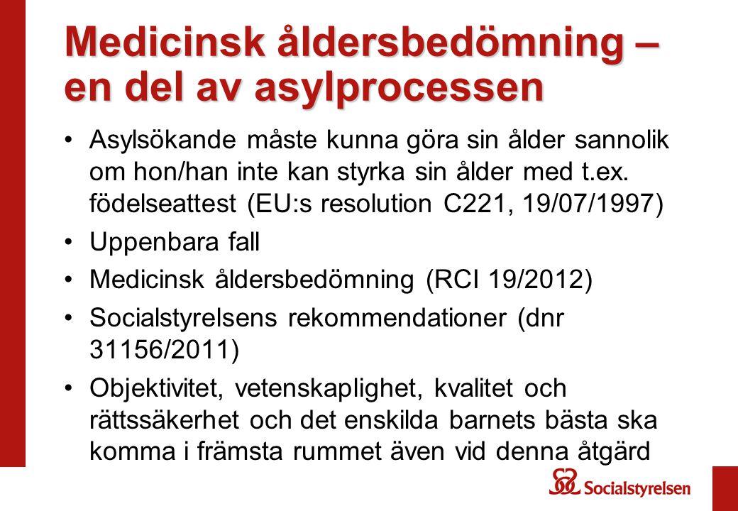 Medicinsk åldersbedömning – en del av asylprocessen •Asylsökande måste kunna göra sin ålder sannolik om hon/han inte kan styrka sin ålder med t.ex. fö