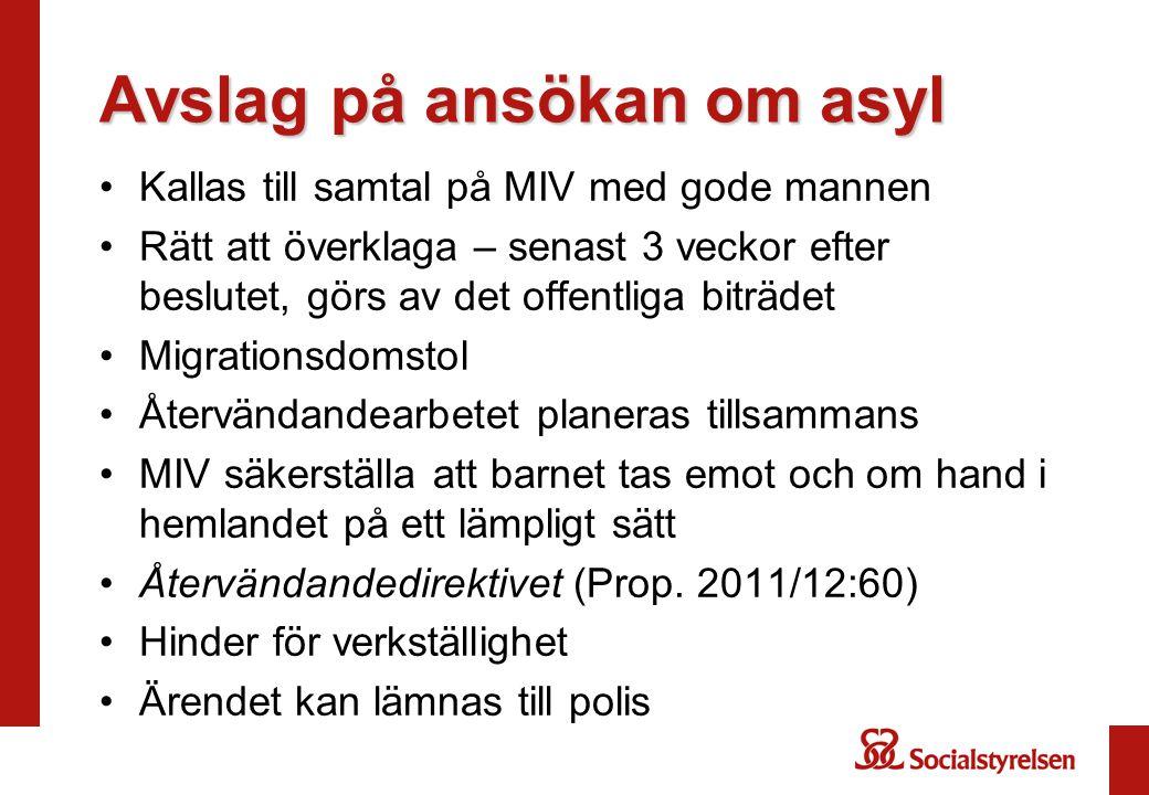 Avslag på ansökan om asyl •Kallas till samtal på MIV med gode mannen •Rätt att överklaga – senast 3 veckor efter beslutet, görs av det offentliga bitr