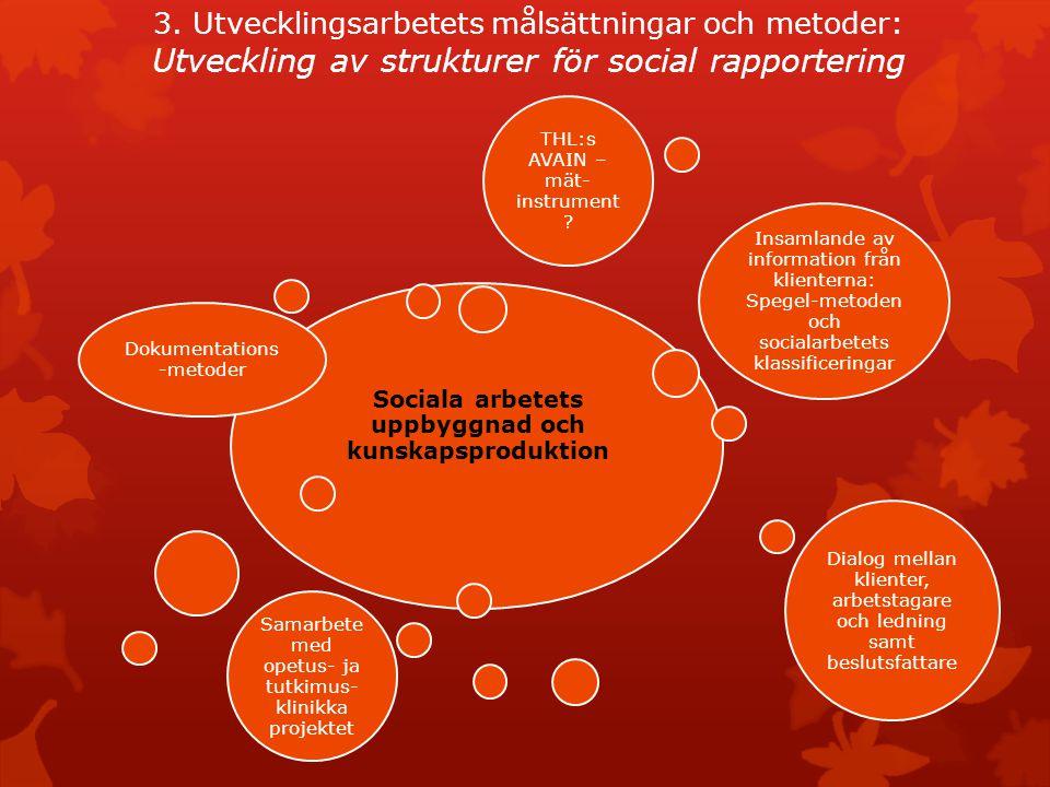 3. Utvecklingsarbetets målsättningar och metoder: Utveckling av strukturer för social rapportering Sociala arbetets uppbyggnad och kunskapsproduktion