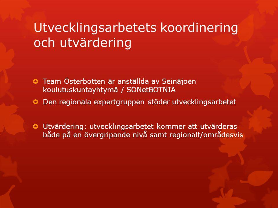 Utvecklingsarbetets koordinering och utvärdering  Team Österbotten är anställda av Seinäjoen koulutuskuntayhtymä / SONetBOTNIA  Den regionala expertgruppen stöder utvecklingsarbetet  Utvärdering: utvecklingsarbetet kommer att utvärderas både på en övergripande nivå samt regionalt/områdesvis
