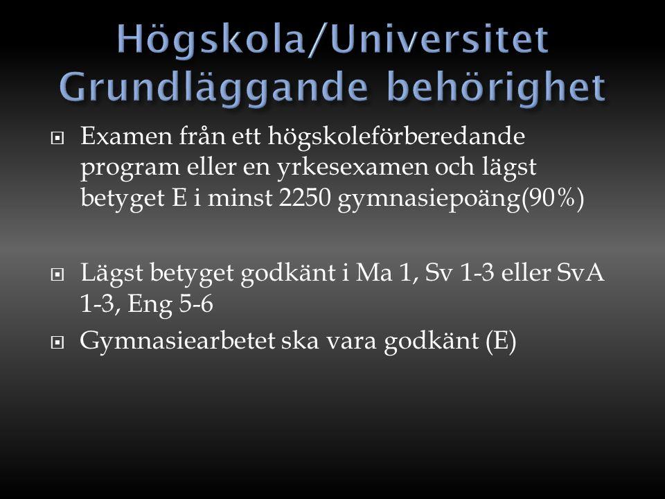  Examen från ett högskoleförberedande program eller en yrkesexamen och lägst betyget E i minst 2250 gymnasiepoäng(90%)  Lägst betyget godkänt i Ma 1