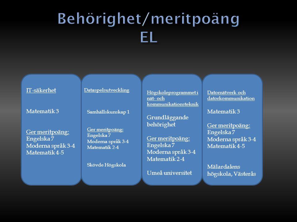 IT-säkerhet Matematik 3 Ger meritpoäng: Engelska 7 Moderna språk 3-4 Matematik 4-5 Samhällskunskap 1 Ger meritpoäng: Engelska 7 Moderna språk 3-4 Mate