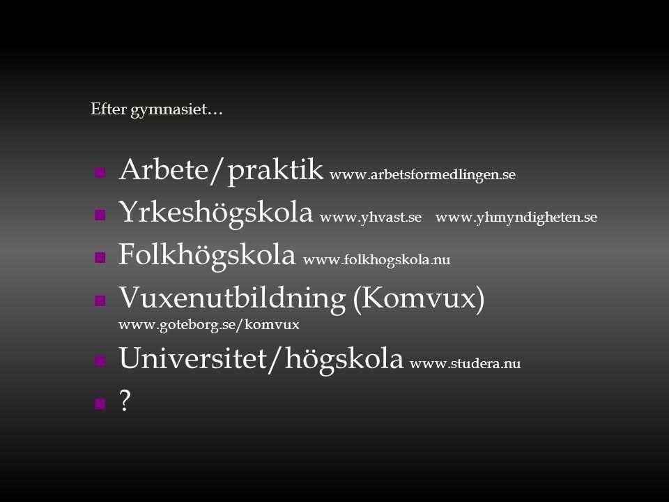 Efter gymnasiet…  Arbete/praktik www.arbetsformedlingen.se  Yrkeshögskola www.yhvast.se www.yhmyndigheten.se  Folkhögskola www.folkhogskola.nu  Vu