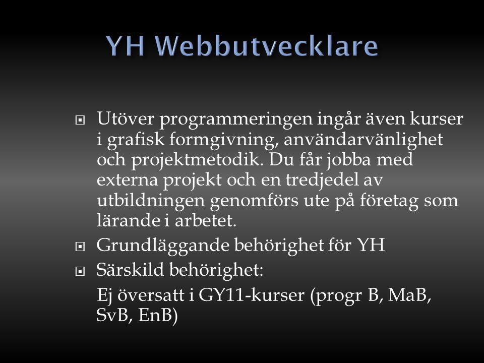 o Under utbildningen kommer du att få lära dig ta fram appar på många olika sätt, från de enkla med halvfärdiga program till avancerade lösningar i Java, C++ och Objective - C o Grundläggande behörighet för YH o Särskild behörighet Ej översatt i GY-11 kurser (programmering B, matematik B) 8