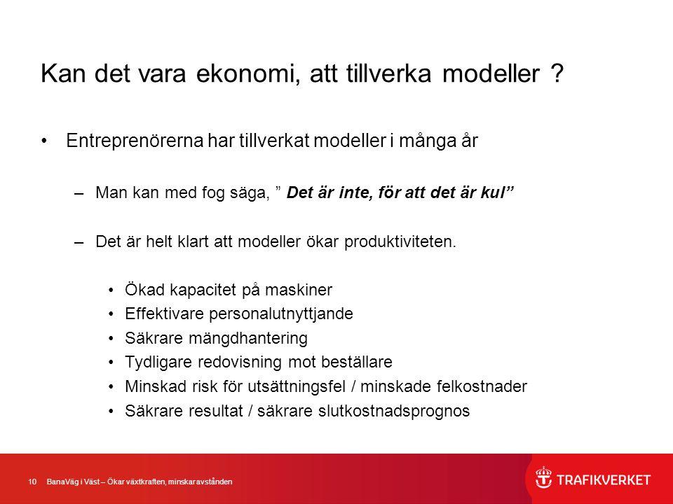 10 BanaVäg i Väst – Ökar växtkraften, minskar avstånden Kan det vara ekonomi, att tillverka modeller ? •Entreprenörerna har tillverkat modeller i mång