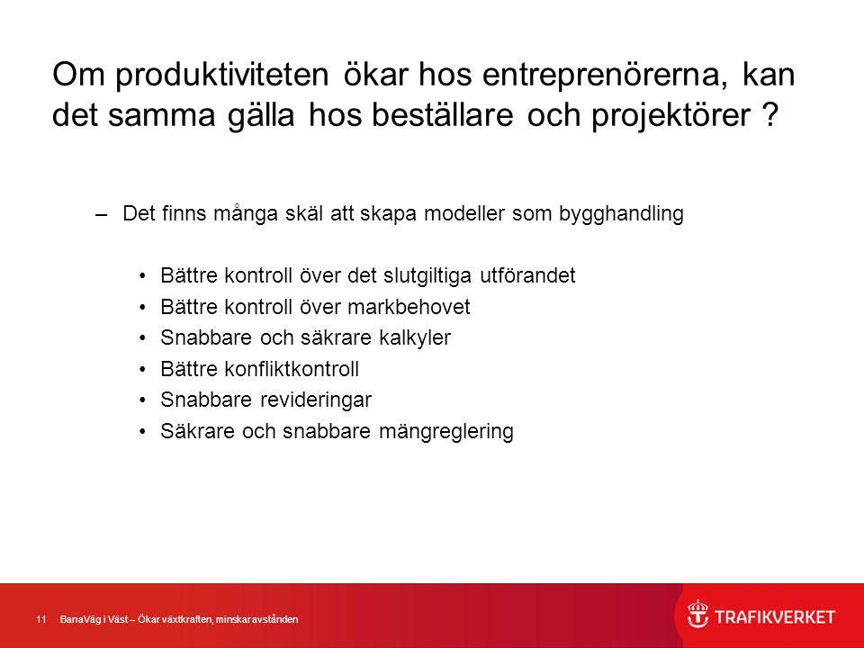 11 BanaVäg i Väst – Ökar växtkraften, minskar avstånden Om produktiviteten ökar hos entreprenörerna, kan det samma gälla hos beställare och projektöre