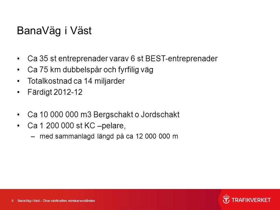 5 BanaVäg i Väst – Ökar växtkraften, minskar avstånden BanaVäg i Väst •Ca 35 st entreprenader varav 6 st BEST-entreprenader •Ca 75 km dubbelspår och f