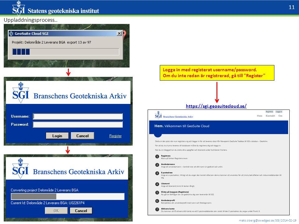 """mats.oberg@swedgeo.se/SGI/2014-02-19 11 Uppladdningsprocess.. Logga in med registerat username/password. Om du inte redan är registrerad, gå till """"Reg"""