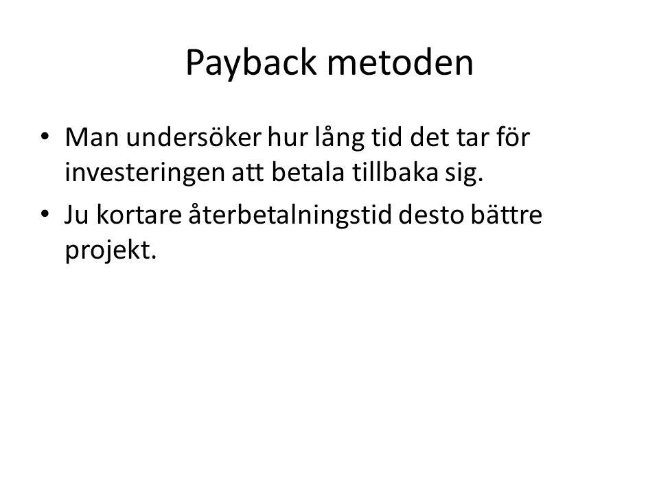 Payback metoden • Man undersöker hur lång tid det tar för investeringen att betala tillbaka sig.