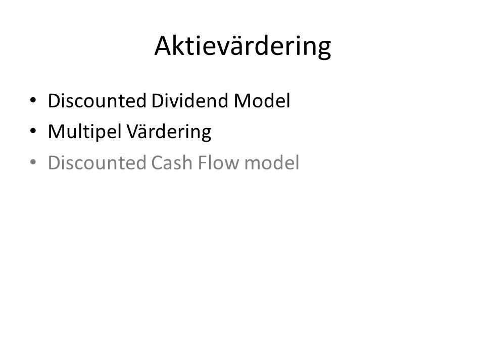 Aktievärdering • Discounted Dividend Model • Multipel Värdering • Discounted Cash Flow model
