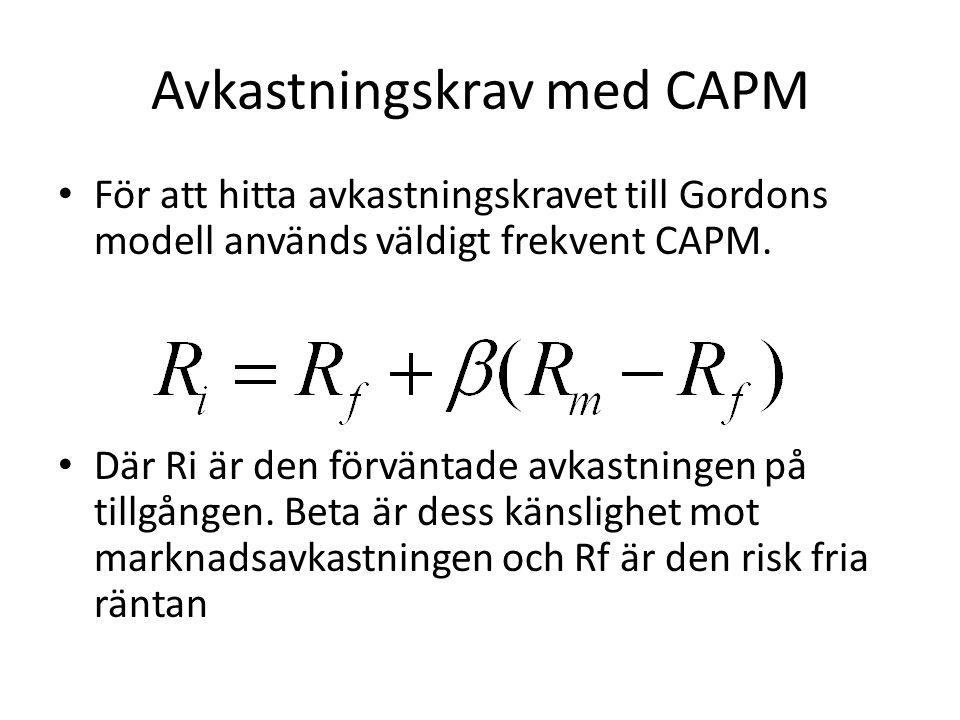 Avkastningskrav med CAPM • För att hitta avkastningskravet till Gordons modell används väldigt frekvent CAPM. • Där Ri är den förväntade avkastningen