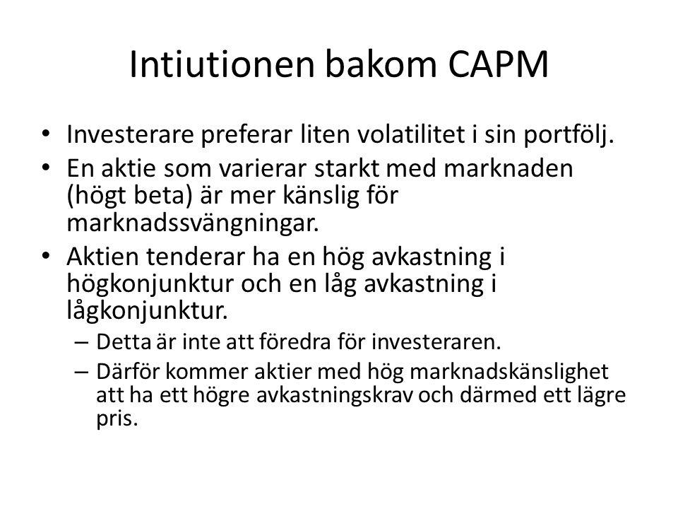 Intiutionen bakom CAPM • Investerare preferar liten volatilitet i sin portfölj. • En aktie som varierar starkt med marknaden (högt beta) är mer känsli