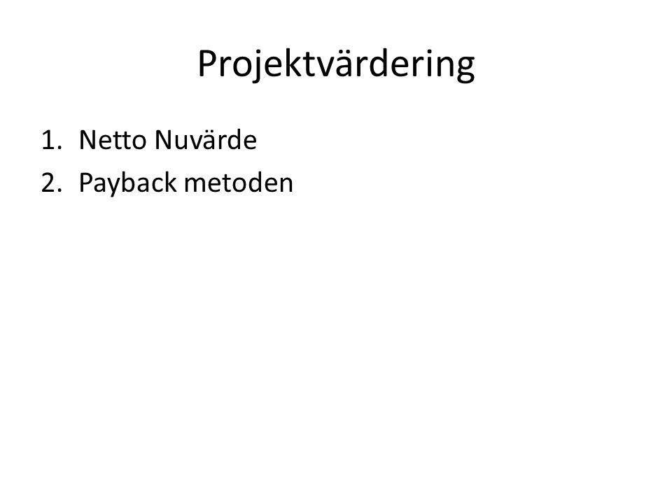 Projektvärdering 1.Netto Nuvärde 2.Payback metoden