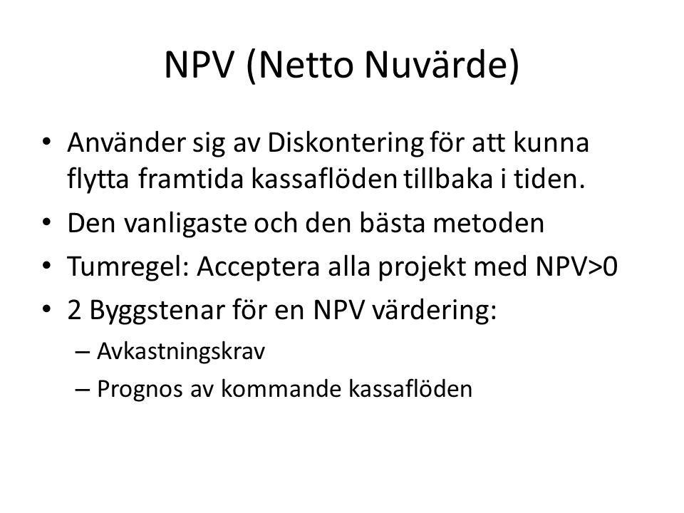 NPV (Netto Nuvärde) • Använder sig av Diskontering för att kunna flytta framtida kassaflöden tillbaka i tiden.