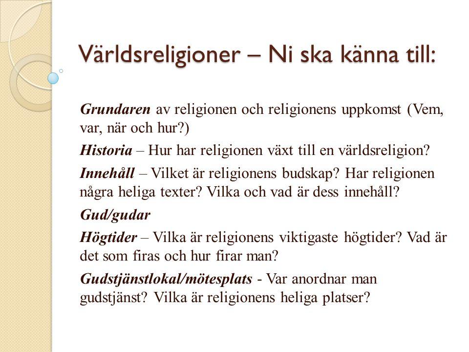  Inriktningar – Finns det olika inriktningar av religionen och i så fall vilka.