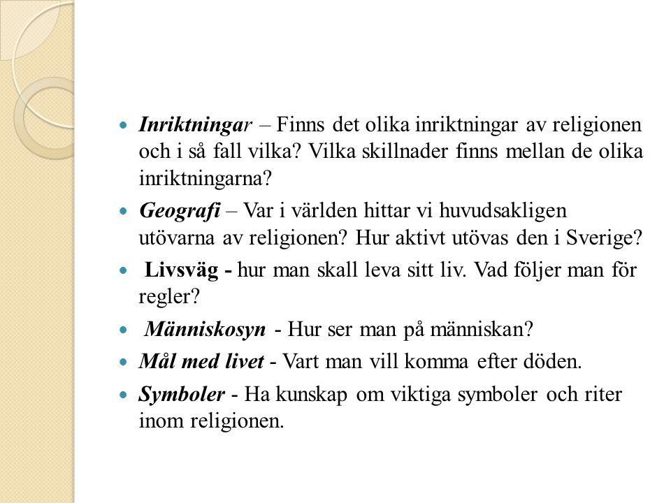  Inriktningar – Finns det olika inriktningar av religionen och i så fall vilka? Vilka skillnader finns mellan de olika inriktningarna?  Geografi – V