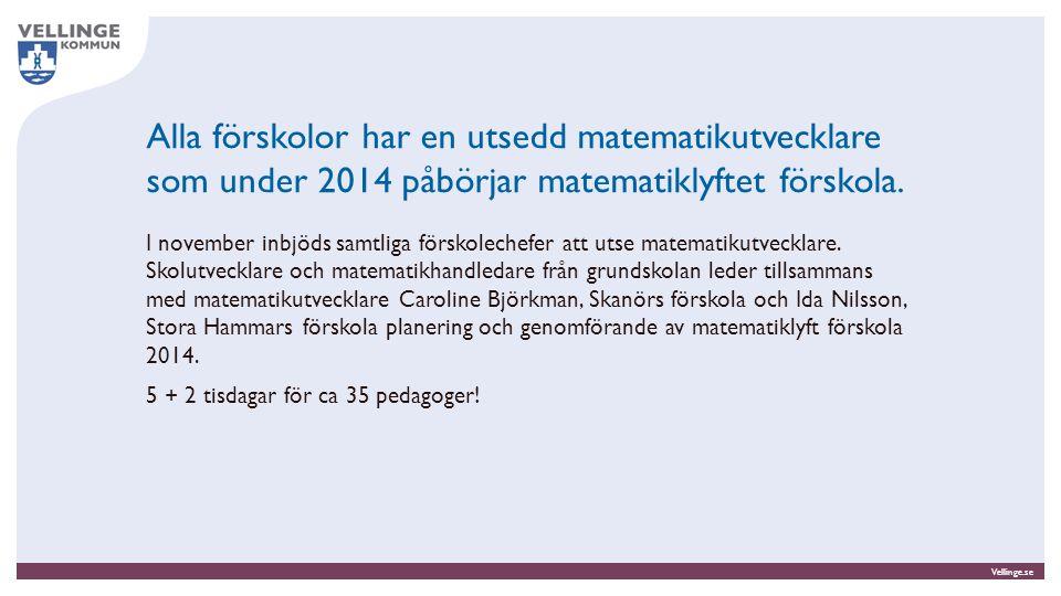 Vellinge.se Alla förskolor har en utsedd matematikutvecklare som under 2014 påbörjar matematiklyftet förskola. I november inbjöds samtliga förskoleche