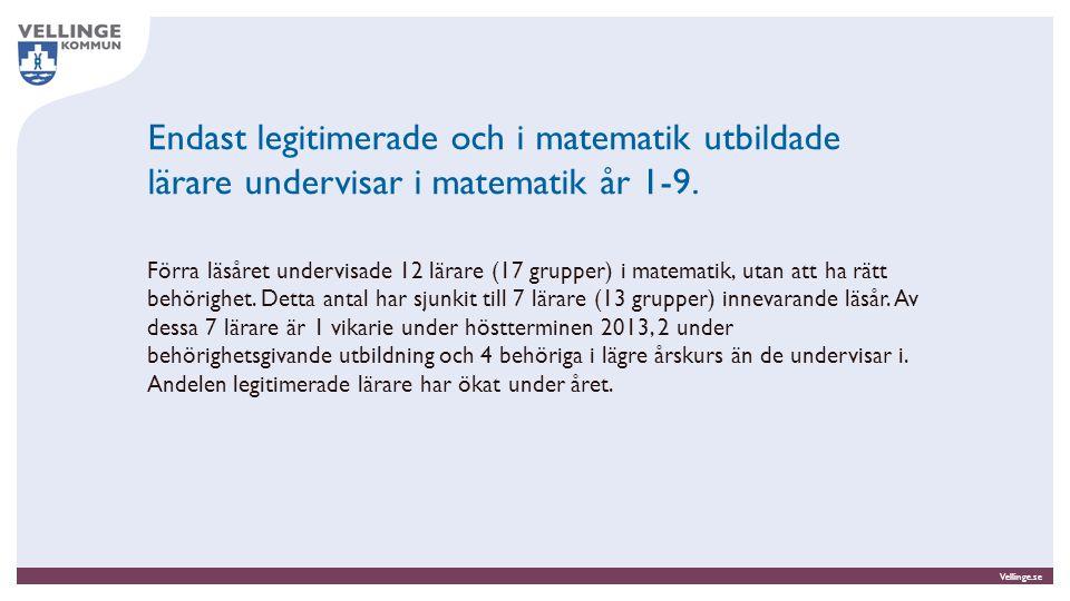 Vellinge.se Endast legitimerade och i matematik utbildade lärare undervisar i matematik år 1-9. Förra läsåret undervisade 12 lärare (17 grupper) i mat