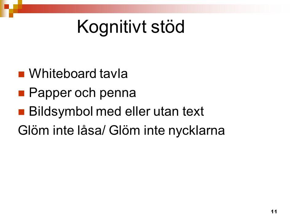 Kognitivt stöd  Whiteboard tavla  Papper och penna  Bildsymbol med eller utan text Glöm inte låsa/ Glöm inte nycklarna 11