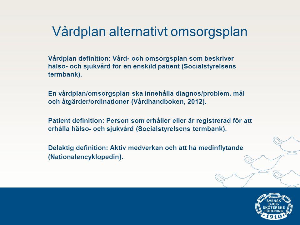 Vårdplan alternativt omsorgsplan Vårdplan definition: Vård- och omsorgsplan som beskriver hälso- och sjukvård för en enskild patient (Socialstyrelsens