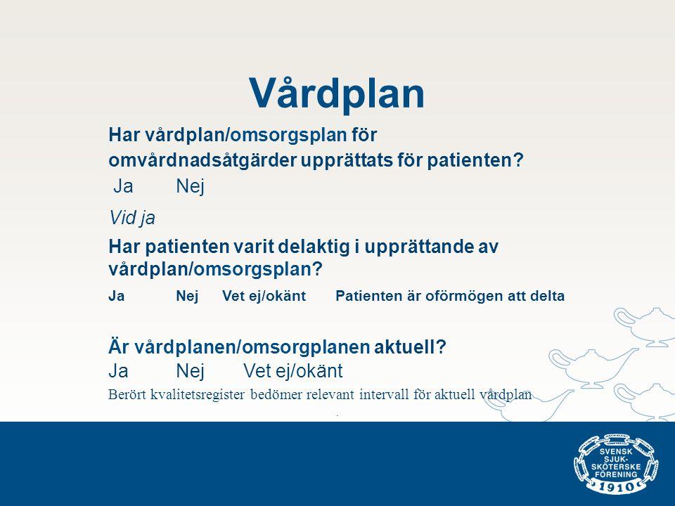 Vårdplan Har vårdplan/omsorgsplan för omvårdnadsåtgärder upprättats för patienten? JaNej Vid ja Har patienten varit delaktig i upprättande av vårdplan