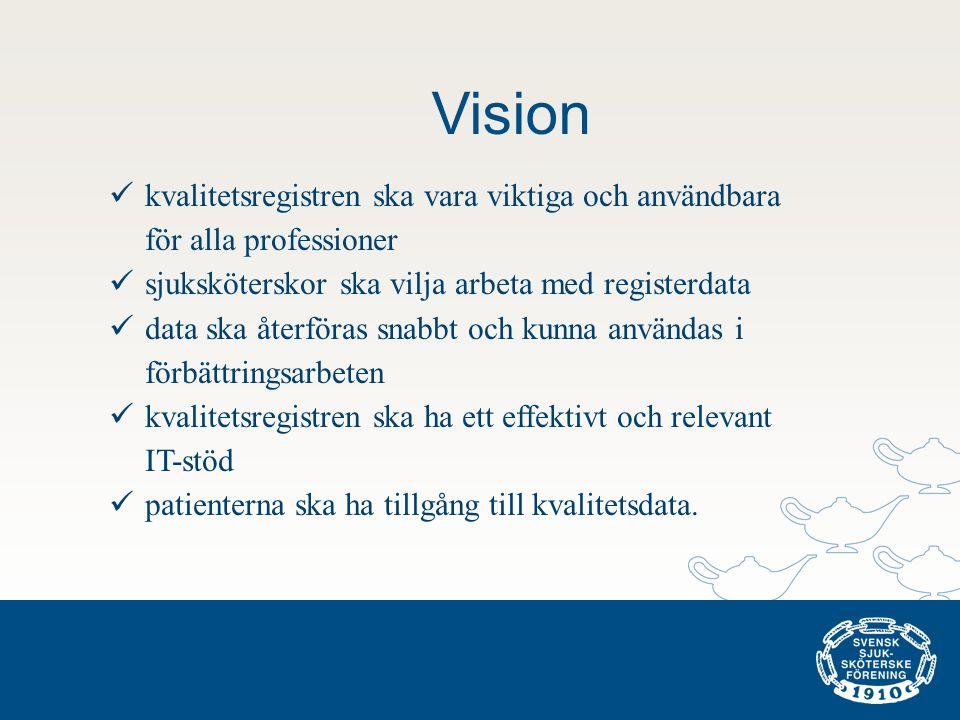 Vision  kvalitetsregistren ska vara viktiga och användbara för alla professioner  sjuksköterskor ska vilja arbeta med registerdata  data ska återfö