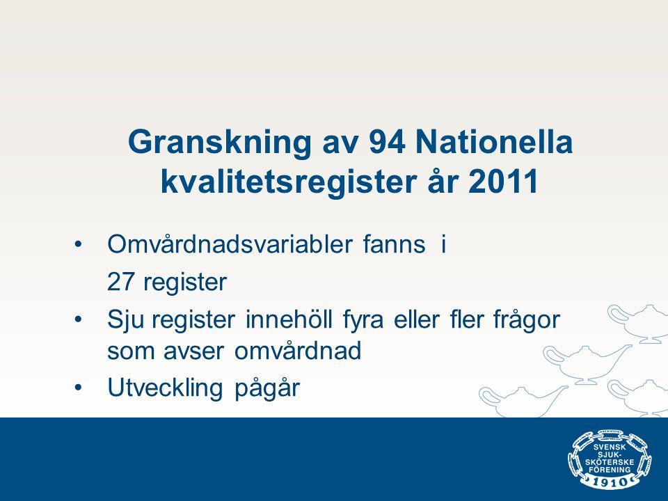 Granskning av 94 Nationella kvalitetsregister år 2011 •Omvårdnadsvariabler fanns i 27 register •Sju register innehöll fyra eller fler frågor som avser omvårdnad •Utveckling pågår