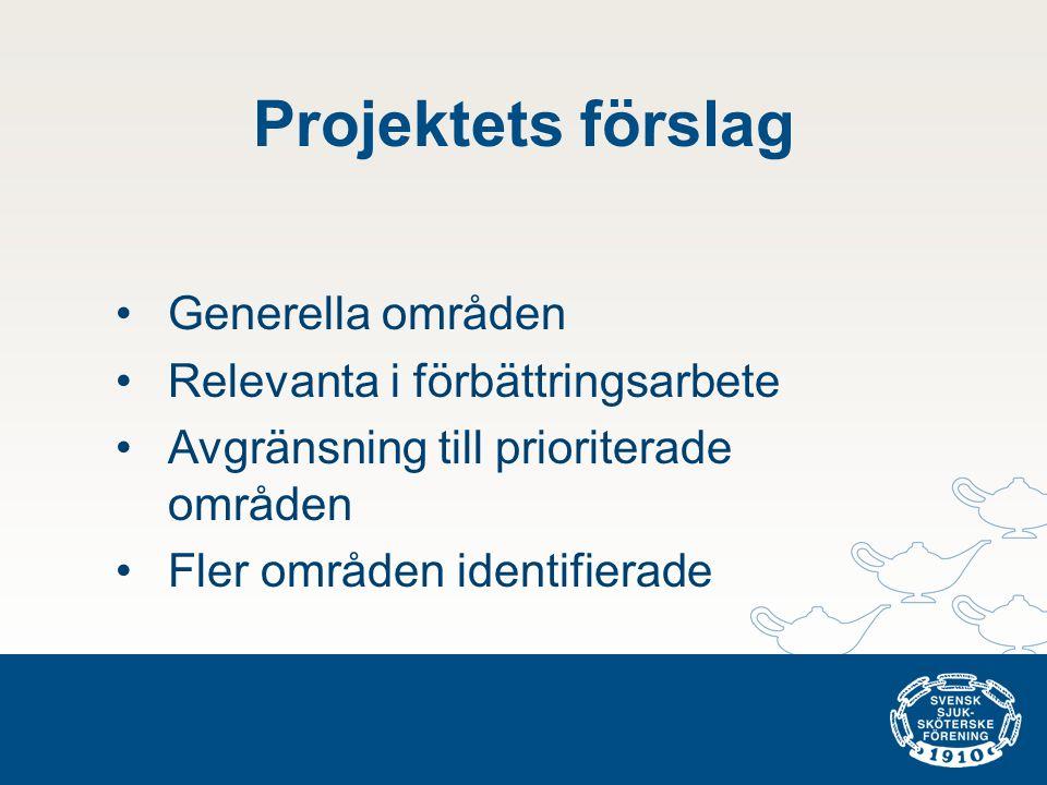 Projektets förslag •Generella områden •Relevanta i förbättringsarbete •Avgränsning till prioriterade områden •Fler områden identifierade
