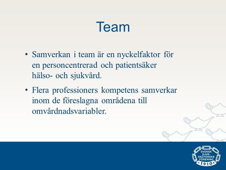 Team • Samverkan i team är en nyckelfaktor för en personcentrerad och patientsäker hälso- och sjukvård. • Flera professioners kompetens samverkar inom