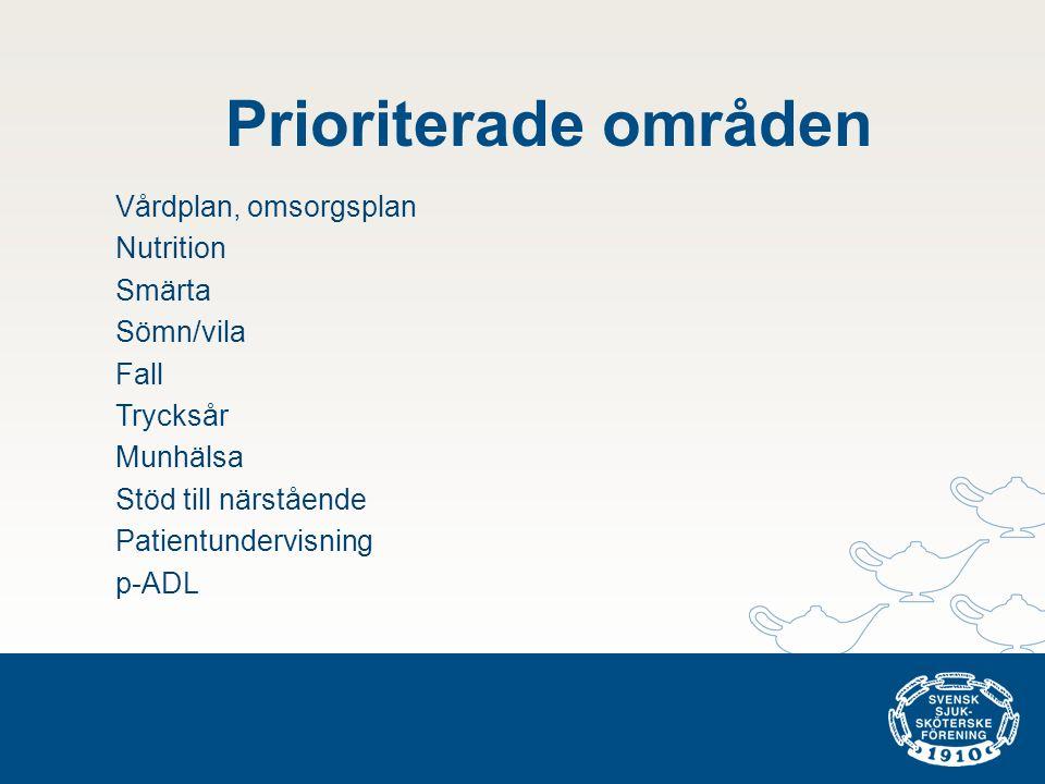 Prioriterade områden Vårdplan, omsorgsplan Nutrition Smärta Sömn/vila Fall Trycksår Munhälsa Stöd till närstående Patientundervisning p-ADL
