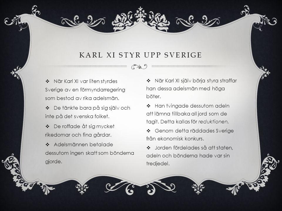  När Karl XI var liten styrdes Sverige av en förmyndarregering som bestod av rika adelsmän.  De tänkte bara på sig själv och inte på det svenska fol