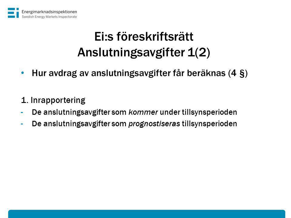 Ei:s föreskriftsrätt Anslutningsavgifter 1(2) • Hur avdrag av anslutningsavgifter får beräknas (4 §) 1.