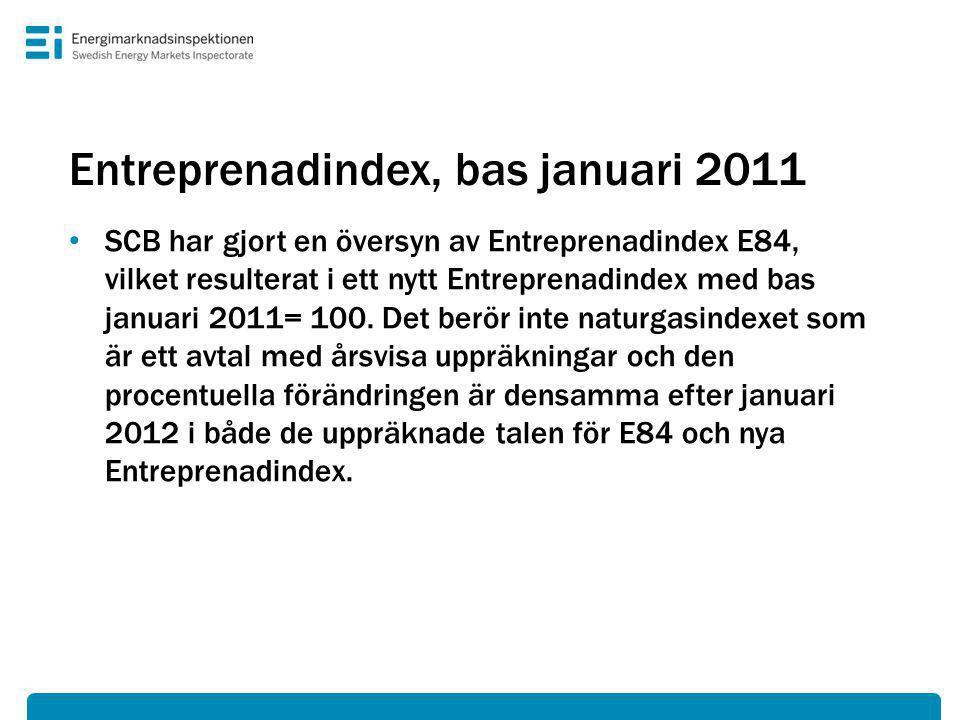 Entreprenadindex, bas januari 2011 • SCB har gjort en översyn av Entreprenadindex E84, vilket resulterat i ett nytt Entreprenadindex med bas januari 2011= 100.