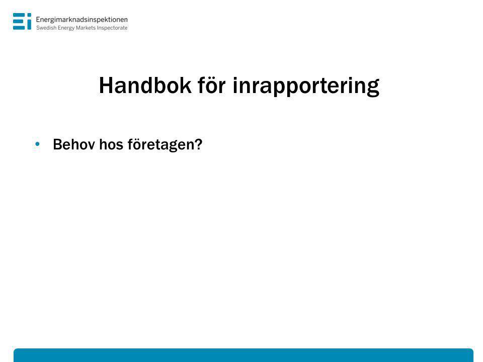 Handbok för inrapportering • Behov hos företagen?
