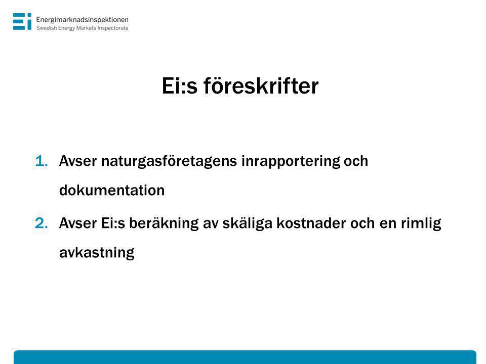 Ei:s föreskrifter 1.Avser naturgasföretagens inrapportering och dokumentation 2.Avser Ei:s beräkning av skäliga kostnader och en rimlig avkastning