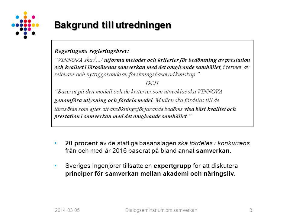 """Bakgrund till utredningen Regeringens regleringsbrev: """"VINNOVA ska /…/ utforma metoder och kriterier för bedömning av prestation och kvalitet i lärosä"""