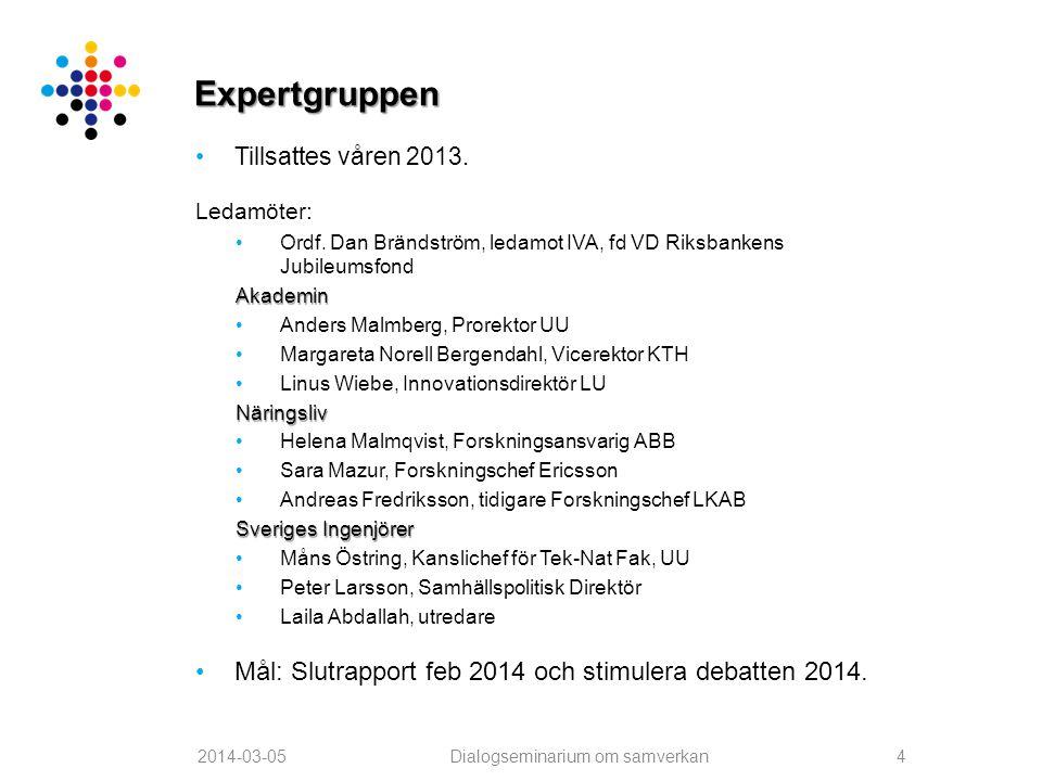 •Tillsattes våren 2013. Ledamöter: •Ordf. Dan Brändström, ledamot IVA, fd VD Riksbankens JubileumsfondAkademin •Anders Malmberg, Prorektor UU •Margare