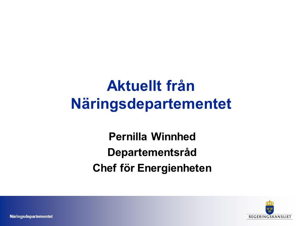 Näringsdepartementet Aktuellt från Näringsdepartementet Pernilla Winnhed Departementsråd Chef för Energienheten