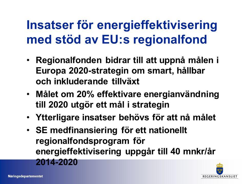 Näringsdepartementet Insatser för energieffektivisering med stöd av EU:s regionalfond •Regionalfonden bidrar till att uppnå målen i Europa 2020-strate