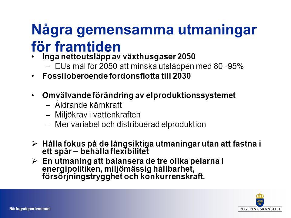Näringsdepartementet Några gemensamma utmaningar för framtiden •Inga nettoutsläpp av växthusgaser 2050 –EUs mål för 2050 att minska utsläppen med 80 -95% •Fossiloberoende fordonsflotta till 2030 •Omvälvande förändring av elproduktionssystemet –Åldrande kärnkraft –Miljökrav i vattenkraften –Mer variabel och distribuerad elproduktion  Hålla fokus på de långsiktiga utmaningar utan att fastna i ett spår – behålla flexibilitet  En utmaning att balansera de tre olika pelarna i energipolitiken, miljömässig hållbarhet, försörjningstrygghet och konkurrenskraft.