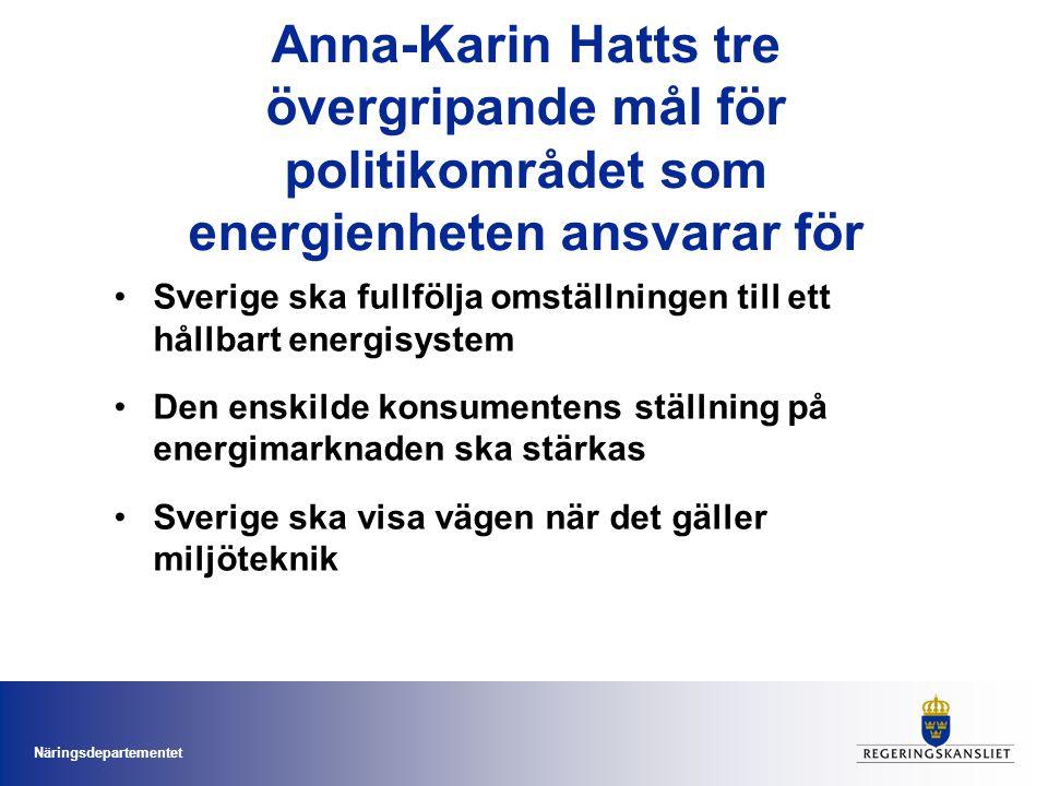 Näringsdepartementet Anna-Karin Hatts tre övergripande mål för politikområdet som energienheten ansvarar för •Sverige ska fullfölja omställningen till ett hållbart energisystem •Den enskilde konsumentens ställning på energimarknaden ska stärkas •Sverige ska visa vägen när det gäller miljöteknik
